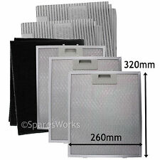3 x UNIVERSAL Cooker Hood Metal Vent Mesh + Carbon Grease Filters 320 x 260 mm