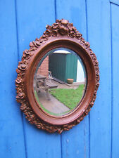 "Vintage wall bevelled oval gilt mirror 18"" high wood and plaster   Odd2"