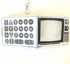 "NEW VINTAGE TV,TELEVISION+REMOTE CONTROL ""VISION"" VINYL WHITE WALLET"