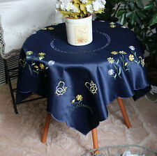 Pretty Chic Chicken Daisy Embroidery Cutwork Deep Blue Square Table Cloth