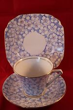 BELL CHINA SHORE & COGGINS ART DECO TRIO CUP SAUCER & PLATE BLUE & WHITE 1936c