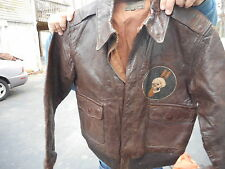 WWII Original A-2 Flight Jacket  Size 38 Rough Wear Clothing. Skull Bomb Patch.