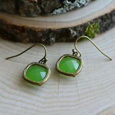 Shamrock Square Jewel Earrings - Antique Bronze Frame - Irish Green Glass
