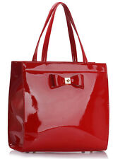 Ladies Plastic Bow Patent Shoulder Bags Women's Faux Leather Tote Bag Heavy Duty