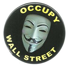 OCCUPY WALL STREET MASK POLITICAL PROTEST PIN BUTTON