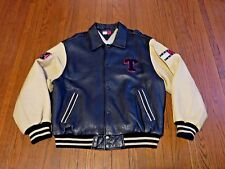 Men's VTG 90's Tommy Hilfiger Jeans Varsity Letterman Leather Jacket sz L