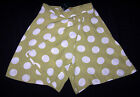 LAURA ASHLEY VINTAGE PALE LIME/WHITE SHORTS CULLOTES TROUSERS NEW TAG 14 UK
