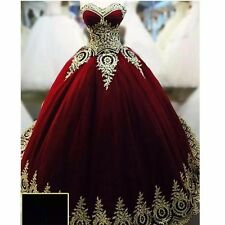 Ball Gowns Evening Dresses Dark Red  with Gold Applique Quinceanera Dresses