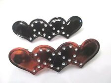 HEARTS BLACK AND HONEY COLOR FAUX TORTOISE SHELL COLOR PLASTIC HAIR BARRETTES
