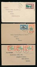 CEYLON KG6 1946-47 SURFACE MAIL to GB...TALAWAKELE + GALLE + HATTON 3 COVERS 15c