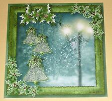 Handmade Greeting Card 3D Christmas With Bells And A Lamp Post  Sentiment Inside