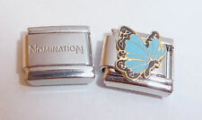 BLUE BUTTERFLY 9mm Italian Charm + 1x Genuine Nomination Classic Link DECEMBER