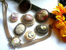 VTG./ESTATE JEWELRY LOT-CAMEO BROOCHES-PENDANTS-LOCKETS-CHOKER NECKLACE-GERRY'S