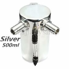 500ML SILVER BRUSHED ALUMINUM ENGINE OIL CATCH TANK RESERVOIR BREATHER CAN 0.5L