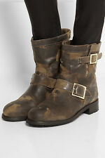 ^$995 NIB Jimmy Choo Leather Animal Print Motorcycle Boots Shoes Antelope  8,5