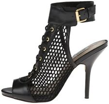 Guess Kalli Lace Up Heels Women's Shoes In Black Leather Size 6