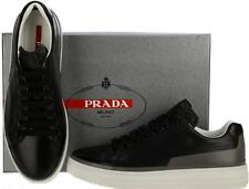 NEW PRADA LADIES BLACK GRAY LEATHER PLATFORM CURRENT LOW TOP SNEAKERS SHOES 37.5