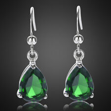 Xmas jewel gift Pear Cut Green Emerald White Gold Plated Dangle Drop Earrings