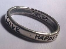 AMY PETERS Band Ring Peace Magic Love Happiness. 2.5G Pewter Size N 1/2.