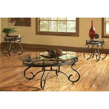 Coffee Table And 2 End Tables 3 Pc Set Metal Tempered Glass Antique Brass