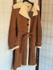 BENEDETTA NOVI ITALY Real Shearling Women's Coat Belted Tawny Natural ITA 42 NWT