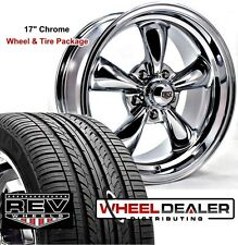 "17"" 17x7-17x8"" CHROME REV CLASSIC 100 WHEELS & TIRES FOR FORD MUSTANG 1966"