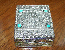 "Trinket Box Small Ornate Metal Turquoise Mirror on Lid 2.5"" x 2"" x 1"""