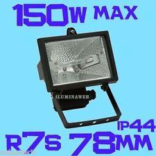 Foco proyector Halogeno R7s 78mm Halogena 120w=150w para exterior IP44, NEGRO