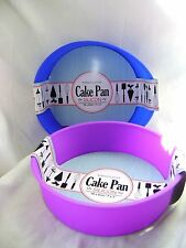 NEW SILICONE SET OF 2 18cm ROUND CAKE BAKING MOULDS NON STICK BLUE + PURPLE