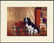 COCKER SPANIEL DOG SITS BY STAIRS WITH LUGGAGE DOG PRINT MOUNTED READY TO FRAME