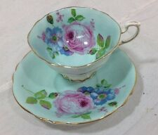 PARAGON BLUE & WHITE FLORAL ANTIQUE CABINET TEA CUP SAUCER HM QUEEN QUEEN MARY