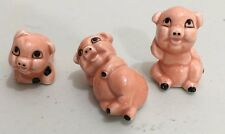 SET OF 3 VINTAGE PIGS MADE IN TAIWAN PORCELAIN CHINA FIGURINES PIGLETS