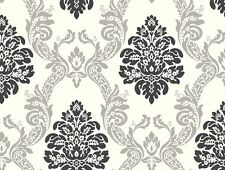 "Formal Black & Silver Damask on Soft White 27"" Wallpaper AB2027"