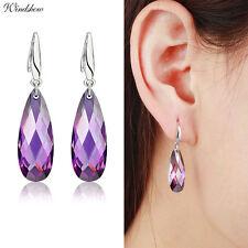 925 Sterling Silver Purple Amethyst Crystal Teardrop Dangle Earrings Jewelry