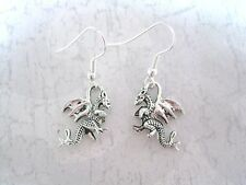 *3D WINGED WELSH DRAGON FORK TAIL CHARM* Silver Plated Earrings FANTASY GIFT BAG