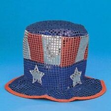 NEW Uncle Sam SEQUIN Patriot HAT Cap Labor Day Party