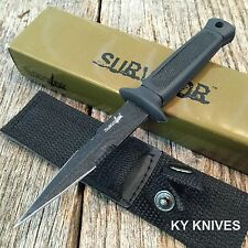 "6.5"" Double Edge Military Tactical Fixed Blade Boot Knife Throwing HK-740BK"