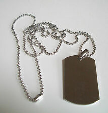 Cool Plain Silver Finish  Beauty Dog Tag Mens Pendant Fashion Necklace