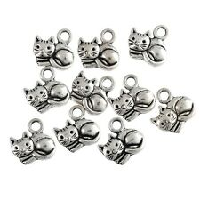 10pcs Fat Cute Cats Beads Tibetan Silver Charms Pendant Fit DIY 14*15mm