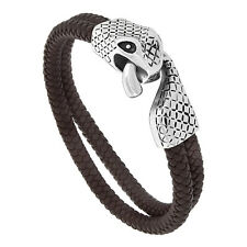 "8.5"" Brown Leather 2-Strand Braided Bracelet w/ Stainless Steel Snake Clasp"