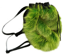 SHADOW DYED GREEN FOX FUR HANDBAG BACKPACK BLACK LEATHER ADJUSTABLE STRAPS
