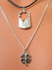 PAIR HIS & HERS LOVERS Matching 4 LEAF CLOVER STERLING SILVER PENDANT NECKLACES