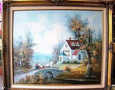Larry Mayer Original Oil Painting Country Scene Horse & Carriage