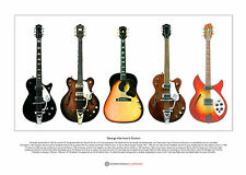 George Harrison's Guitars Limited Edition Fine Art Print A3 size