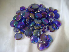 NEW DECORATIVE GLASS VASE PEBBLES STONES. IRRIDESCENT SILVERY BLUE 350g UBL