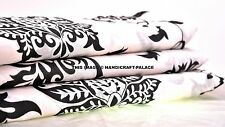 Black & White Floral Printed Cotton Fabric Indian Dressmaking Fabric By 5 Yard
