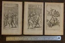 Antique ensemble de lutte, main combat prints from 1715. mma intérêt, rare image
