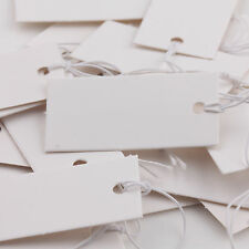 100 Quality White Strung Price Ticket Tags Labels Retail Clothing Gift Sticker