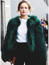 ZARA Bottle Green Short Faux Fur Jacket Coat  Small S