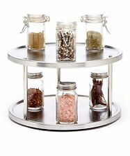 Kitchen Cabinet Pantry Organizer 2 Tier Lazy Susan Turntable Stainless Steel ...